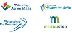 Logo's van Waterschap Aa en Maas, Waterschap Brabantse Delta, Waterschap De Dommel en Meierijstand